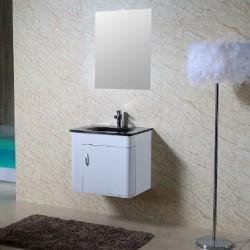 Бял ПВЦ шкаф за баня с черен умивалник