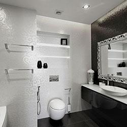 Стилен интериор за черно-бяла баня